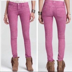 Free People Magenta Low rise Skinny Jeans